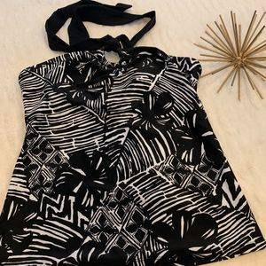 NWOT Chaps Black and White Swim Top Size 6